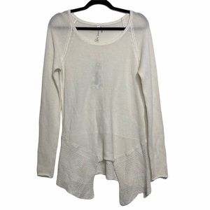 Monoreno Off White Linen Blend Long Sleeve Top